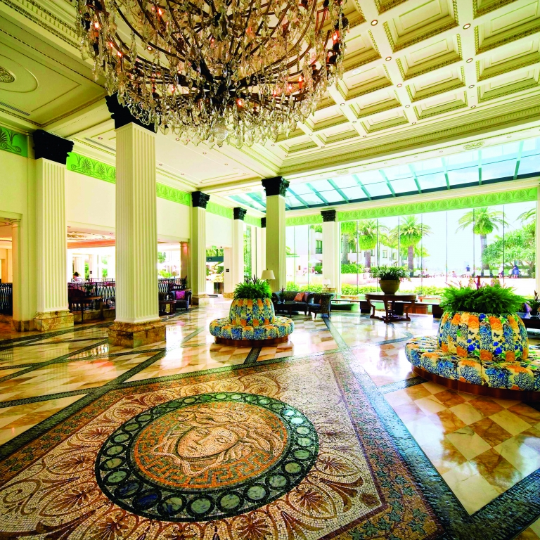 The lobby of Palazzo Versace on Australia's Gold Coast.